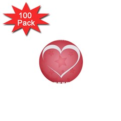 Postcard Banner Heart Holiday Love 1  Mini Buttons (100 Pack)