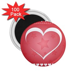 Postcard Banner Heart Holiday Love 2 25  Magnets (100 Pack)