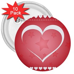 Postcard Banner Heart Holiday Love 3  Buttons (10 Pack)