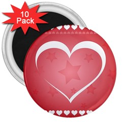 Postcard Banner Heart Holiday Love 3  Magnets (10 Pack)