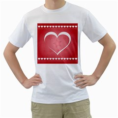 Postcard Banner Heart Holiday Love Men s T Shirt (white) (two Sided)