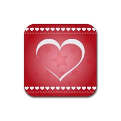 Postcard Banner Heart Holiday Love Rubber Coaster (Square)
