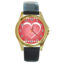 Postcard Banner Heart Holiday Love Round Gold Metal Watch