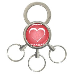 Postcard Banner Heart Holiday Love 3 Ring Key Chains