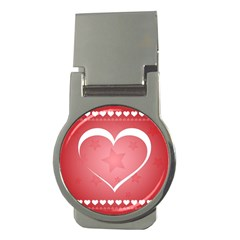 Postcard Banner Heart Holiday Love Money Clips (round)