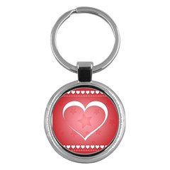 Postcard Banner Heart Holiday Love Key Chains (round)