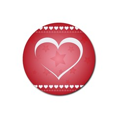 Postcard Banner Heart Holiday Love Rubber Round Coaster (4 Pack)