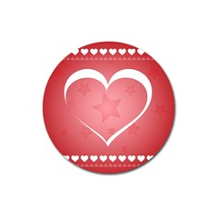 Postcard Banner Heart Holiday Love Magnet 3  (round)