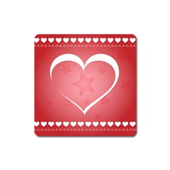 Postcard Banner Heart Holiday Love Square Magnet