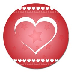 Postcard Banner Heart Holiday Love Magnet 5  (round)