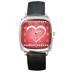 Postcard Banner Heart Holiday Love Square Metal Watch