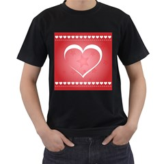 Postcard Banner Heart Holiday Love Men s T Shirt (black) (two Sided)