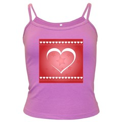Postcard Banner Heart Holiday Love Dark Spaghetti Tank