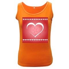 Postcard Banner Heart Holiday Love Women s Dark Tank Top