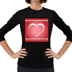 Postcard Banner Heart Holiday Love Women s Long Sleeve Dark T Shirts