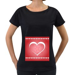 Postcard Banner Heart Holiday Love Women s Loose Fit T Shirt (black)