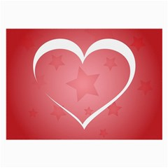 Postcard Banner Heart Holiday Love Large Glasses Cloth (2 Side)