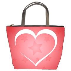 Postcard Banner Heart Holiday Love Bucket Bags