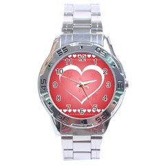 Postcard Banner Heart Holiday Love Stainless Steel Analogue Watch