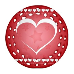 Postcard Banner Heart Holiday Love Ornament (round Filigree)