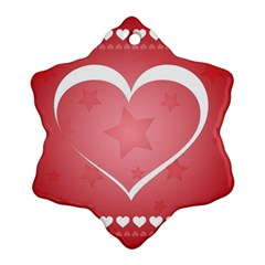 Postcard Banner Heart Holiday Love Snowflake Ornament (two Sides)