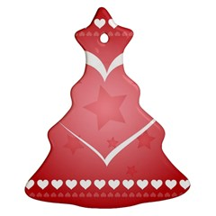 Postcard Banner Heart Holiday Love Christmas Tree Ornament (two Sides)