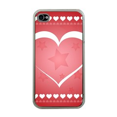 Postcard Banner Heart Holiday Love Apple Iphone 4 Case (clear)