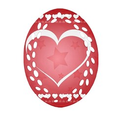Postcard Banner Heart Holiday Love Ornament (oval Filigree)