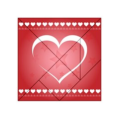 Postcard Banner Heart Holiday Love Acrylic Tangram Puzzle (4  X 4 )
