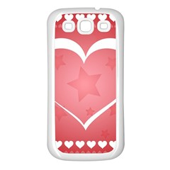 Postcard Banner Heart Holiday Love Samsung Galaxy S3 Back Case (white)
