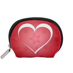 Postcard Banner Heart Holiday Love Accessory Pouches (small)