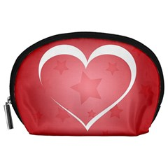 Postcard Banner Heart Holiday Love Accessory Pouches (Large)