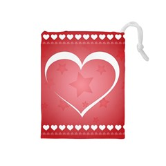 Postcard Banner Heart Holiday Love Drawstring Pouches (medium)