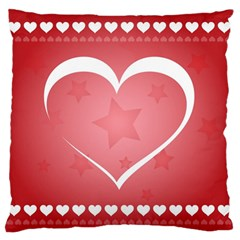 Postcard Banner Heart Holiday Love Large Flano Cushion Case (two Sides)