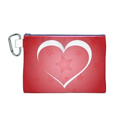 Postcard Banner Heart Holiday Love Canvas Cosmetic Bag (m)
