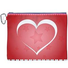 Postcard Banner Heart Holiday Love Canvas Cosmetic Bag (xxxl)