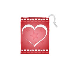Postcard Banner Heart Holiday Love Drawstring Pouches (xs)