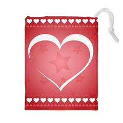 Postcard Banner Heart Holiday Love Drawstring Pouches (extra Large)
