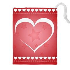 Postcard Banner Heart Holiday Love Drawstring Pouches (xxl)