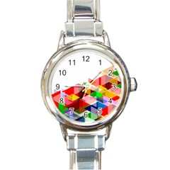 Graphics Cover Gradient Elements Round Italian Charm Watch