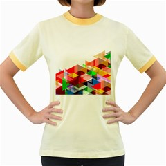 Graphics Cover Gradient Elements Women s Fitted Ringer T Shirts