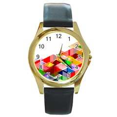 Graphics Cover Gradient Elements Round Gold Metal Watch