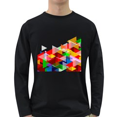 Graphics Cover Gradient Elements Long Sleeve Dark T Shirts