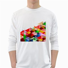 Graphics Cover Gradient Elements White Long Sleeve T Shirts