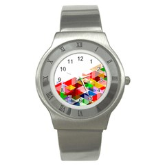 Graphics Cover Gradient Elements Stainless Steel Watch