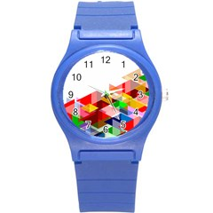 Graphics Cover Gradient Elements Round Plastic Sport Watch (s)