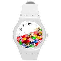 Graphics Cover Gradient Elements Round Plastic Sport Watch (m)