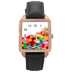 Graphics Cover Gradient Elements Rose Gold Leather Watch
