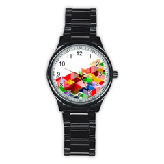 Graphics Cover Gradient Elements Stainless Steel Round Watch