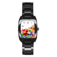 Graphics Cover Gradient Elements Stainless Steel Barrel Watch